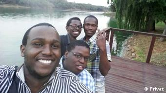 Tshepo with friends.