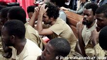 16.11.2015 *** epa05028410 The 17 Angolans activists, 15 of which are in custody, accused of preparatory acts of rebellion, were this morning present on trial in the Court of Benfica in Luanda, Angola, 16 November 2015. The activists are all accused, among other crimes, the crime of co-authoring of material preparatory acts of rebellion and an attempt on the President of Angola, as part of a weekly training course that was occurring since May. EPA/PAULO JULIAO +++(c) dpa - Bildfunk+++ Copyright: picture-alliance/dpa/P. Juliao