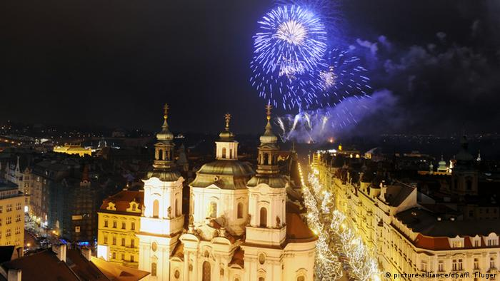 Fireworks over the church in Prague