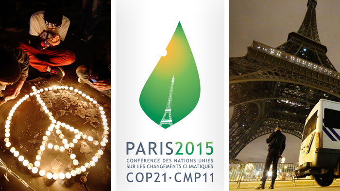 logo of UN climate change conference 2015, Eiffel tower
