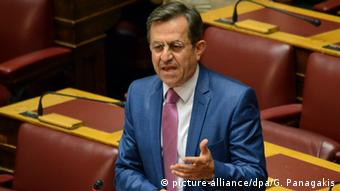 Nikos Nikolopoulos MP with Independent Greeks talks to the Greek Parliament