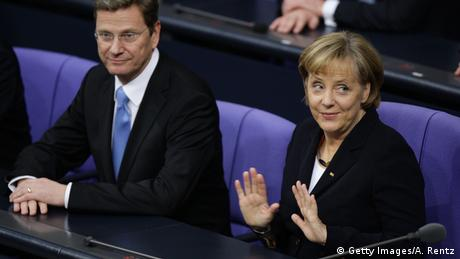 Angela Merkel & Guido Westerwelle in the Bundestag 2009