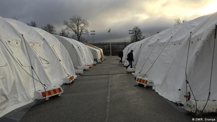 Tents that serve as housing for refugees in Malmö, Sweden