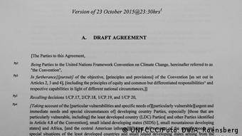 Προσχέδιο συμφωνίας για την Παγκόσμια Διάσκεψη για το Κλίμα στο Παρίσι
