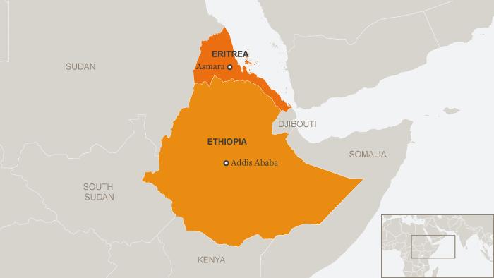 DW map show Ethiopia and neighboring Eritrea