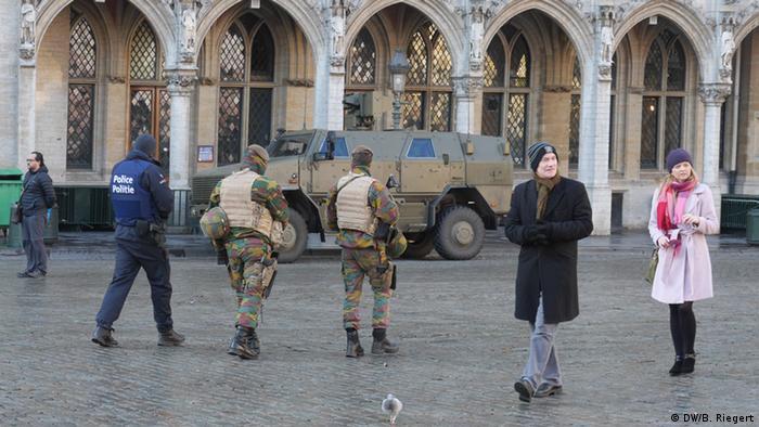Полиция и солдаты в центре Брюсселя