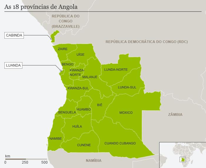 Karte Angola mit den 18 Provinzen Portugiesisch