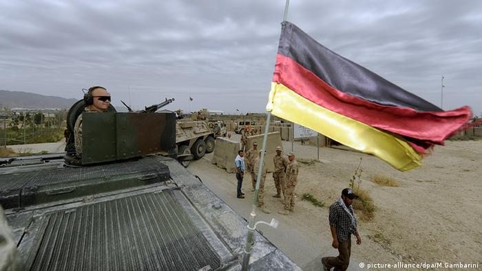 German soldiers in Afghanistan with the German flag