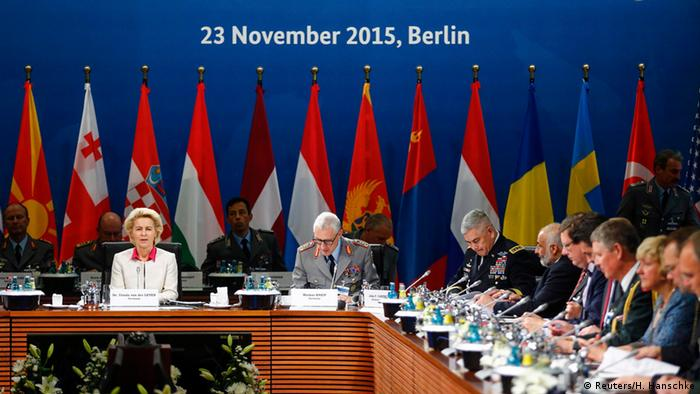 Ursula von der Leyen with other NATO defense ministers