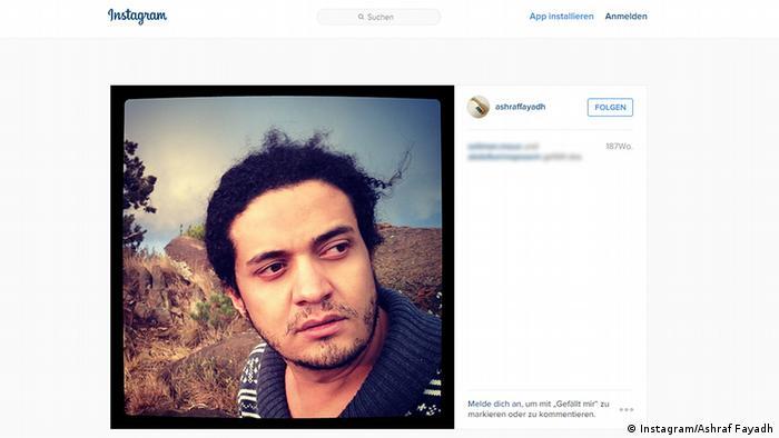 Screenshot Instagram Dichter Ashraf Fayadh EINSCHRÄNKUNG