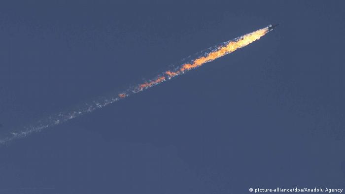 Russian fighter jet in flames