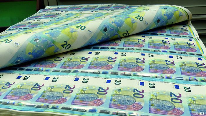Печать 20 евровых купюр