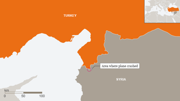 Map showing Turkish, Syrian border