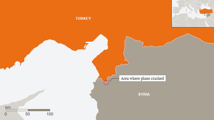 Map showing Turkish, Syrian border