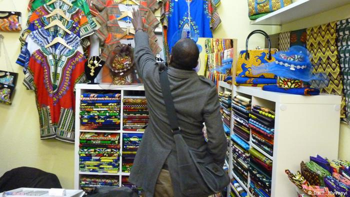 A shop with colorful African fabrics