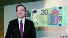EZB Chef, Mario Draghi, bei der Vorstellung der neuen 20 Euro Scheine, aufgenommen am 25. Februar 2015 Copyright: EZB/CC BY-NC-ND 2.0 Quelle: https://www.flickr.com/photos/europeancentralbank/16634751122/in/album-72157650463037740/