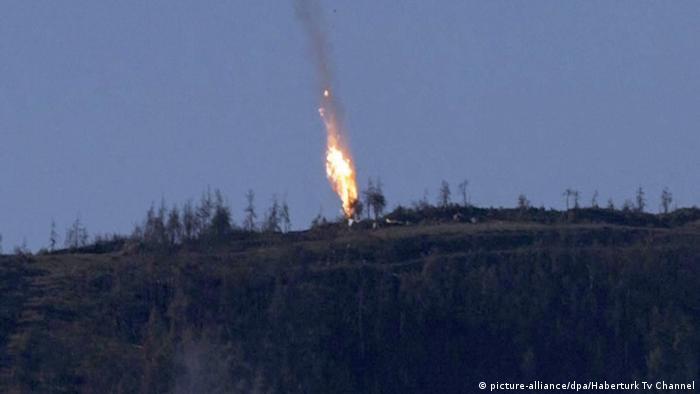 Сваленият Су-24 в пламъци