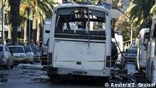 Tunesien Anschlag auf Militärfahrzeug in Tunis Spurensicherung