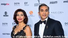 Bassem Youssef und Ehefrau Emmy Awards 2015