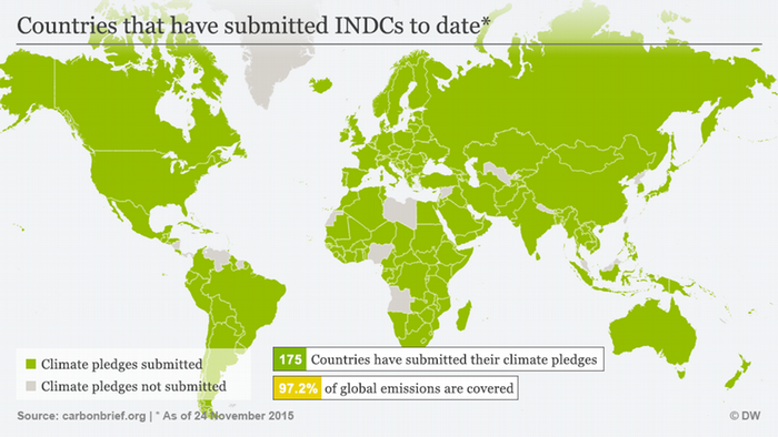 Infographic: World map showing climate pledges submitted November 2015