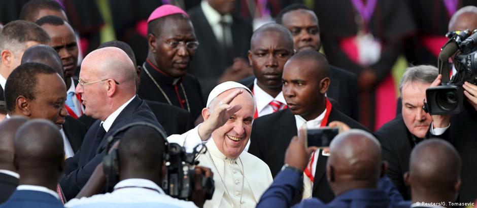 O papa Francisco durante visita a Nairóbi, no Quênia