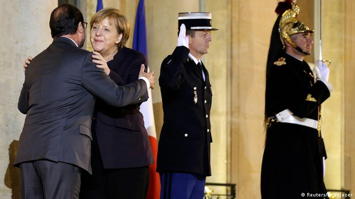 Frankreich Angela Merkel & Francois Hollande in Paris