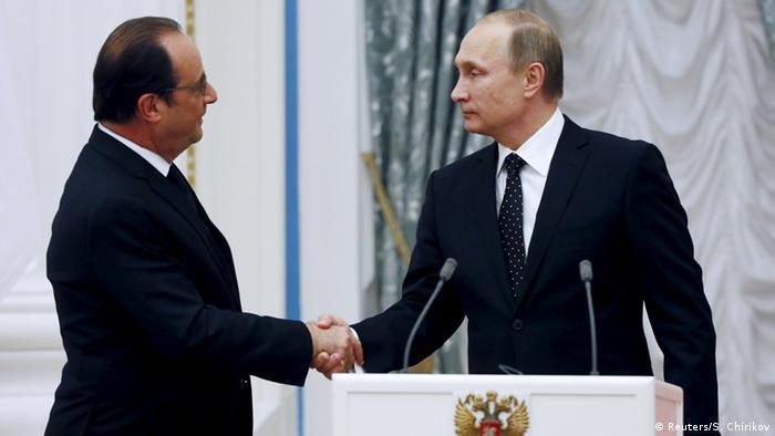 Франсуа Олланд и Владимир Путин на переговорах в Москве