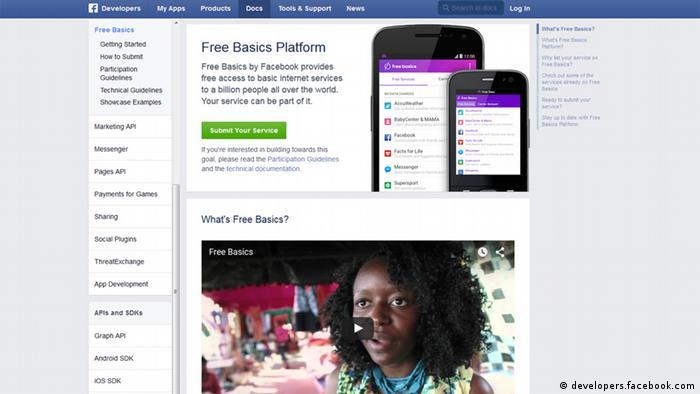 Screenshot Facebook Free Basics Internet.org (developers.facebook.com)