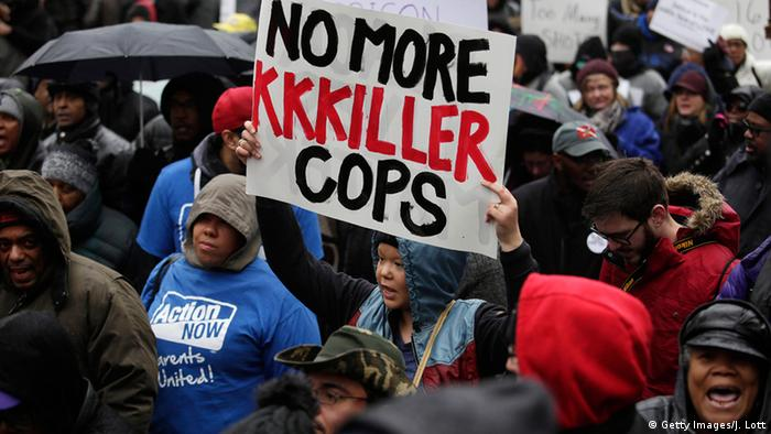 Demonstrators in Chicago protest the shooting of Laquan McDonald by a Chicago police officer