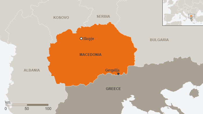 A map showing modern-day Macedonia, Greece, and its Balkan neighbors,