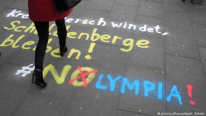 Schriftzug von NOlympia von Olympia-Gegnern in Hamburg (picture-alliance/dpa/C. Rehder)