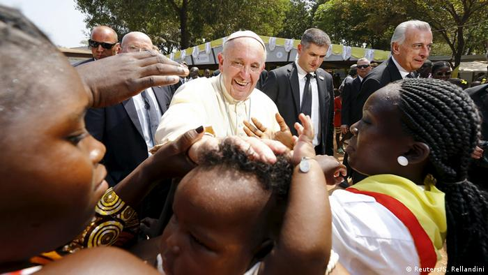 Pope Francis visits a refugee camp in Bangui.