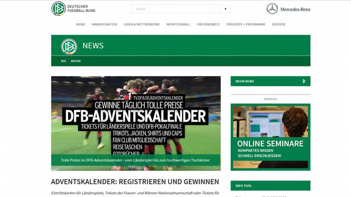 Screenshot DFB Adventskalender Gewinn