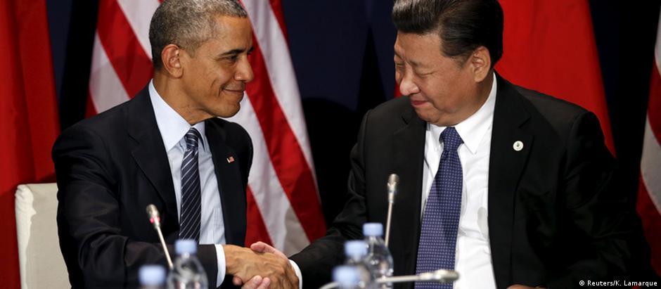 Os presidentes dos dois países que mais poluem no mundo: Barack Obama, dos EUA, e Xi Jinping, da China