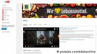Screenshot Edeka Werbung heimkommen auf Youtube