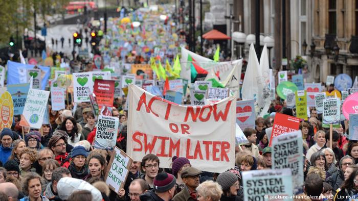 Protesters demand action on climate change in London, 2015