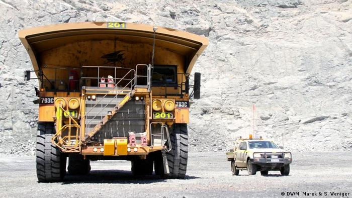 Photo: Heavy machinery at a goldmine.