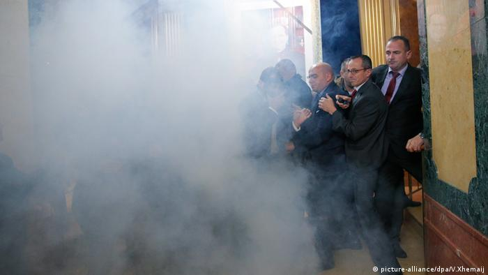Kosovo Parliament engulfed in smoke