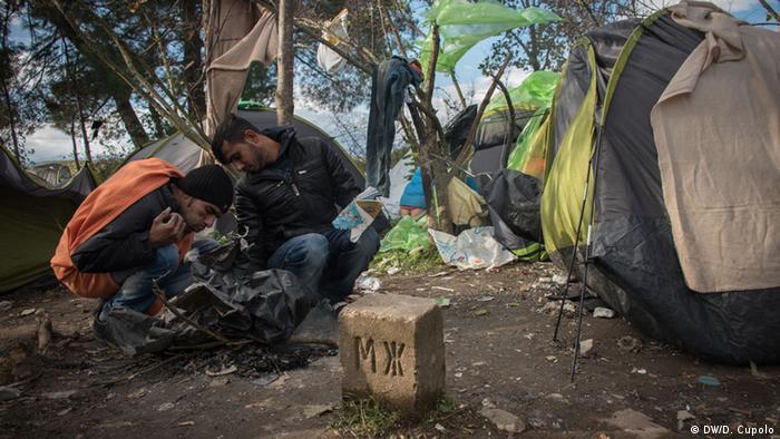 Лагерь беженцев на границе Греции с Македонией