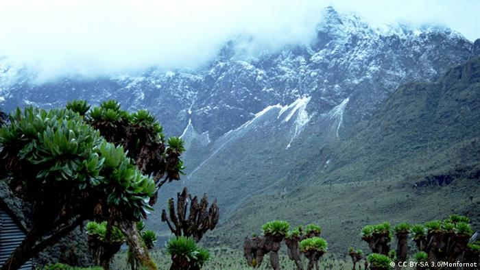 View of snow-capped Rwenzori Mountains in Uganda