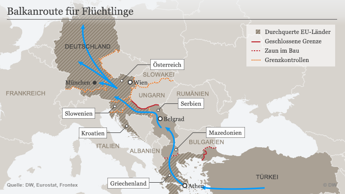 Karte Balkan Fluchtroute 01.12.2015 Deutsch