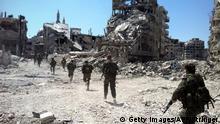 Syrien Homs Syrische Soldaten Patrouille