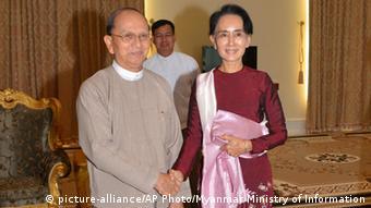 Myanmar Treffen Aung San Suu Kyi und Thein Sein