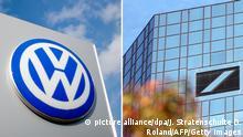 Bildcombo: ARCHIV - Ein Schild mit einem Volkswagen Logo steht am 20.02.2014 vor einem VW-Autohaus in Hannover (Niedersachsen). Der Aufsichtsrat bei Volkswagen startet am 04.05.2015 mit der ersten Sitzung ohne seinen langjährigen Chefkontrolleur Piëch in eine neue Ära. Foto: Julian Stratenschulte/dpa (zu dpa VW-Aufsichtsrat bereitet Hauptversammlung in Hannover vor vom 02.05.2015) +++(c) dpa - Bildfunk+++ FILES - Picture taken on September 13, 2010 shows the logo of Germany's leading bank, Deutsche Bank, at the bank's headquarters in Frankfurt am Main, central Germany. Deutsche Bank, Germany's biggest bank, posted solid results on July 26, 2011 despite the eurozone debt crisis and looked ahead with confidence after naming two successors to board chairman Josef Ackermann. AFP PHOTO / DANIEL ROLAND (Photo credit should read DANIEL ROLAND/AFP/Getty Images)