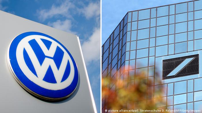 Volkswagen und Deutsche Bank Logo (picture alliance/dpa/J. Stratenschulte D. Roland/AFP/Getty Images)