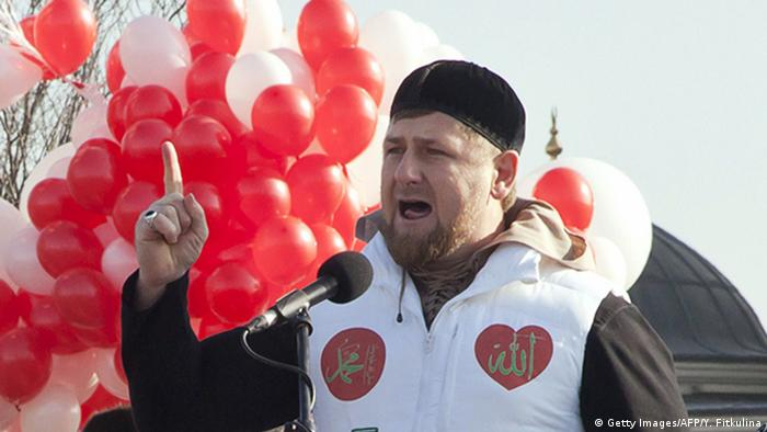 Chechen President Ramzan Kadyrov speaks at a rally