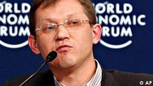 Member of the Russian State Duma Vladimir Ryzhkov gestures while speaking during a panel discussion 'The Russian Riddle' at the World Economic Forum in Davos, Switzerland, Friday Jan. 28, 2005. (AP Photo/Virginia Mayo)