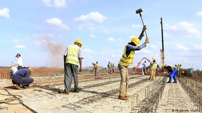 Construction workers on a railway line in Kenya