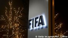 Schweiz Logo FIFA in Zürich Gebäude