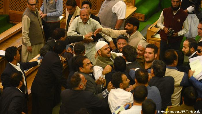 Independent lawmaker, Engineer Rashid shouts after being thrashed by Bhartiya Janta Party legislators.